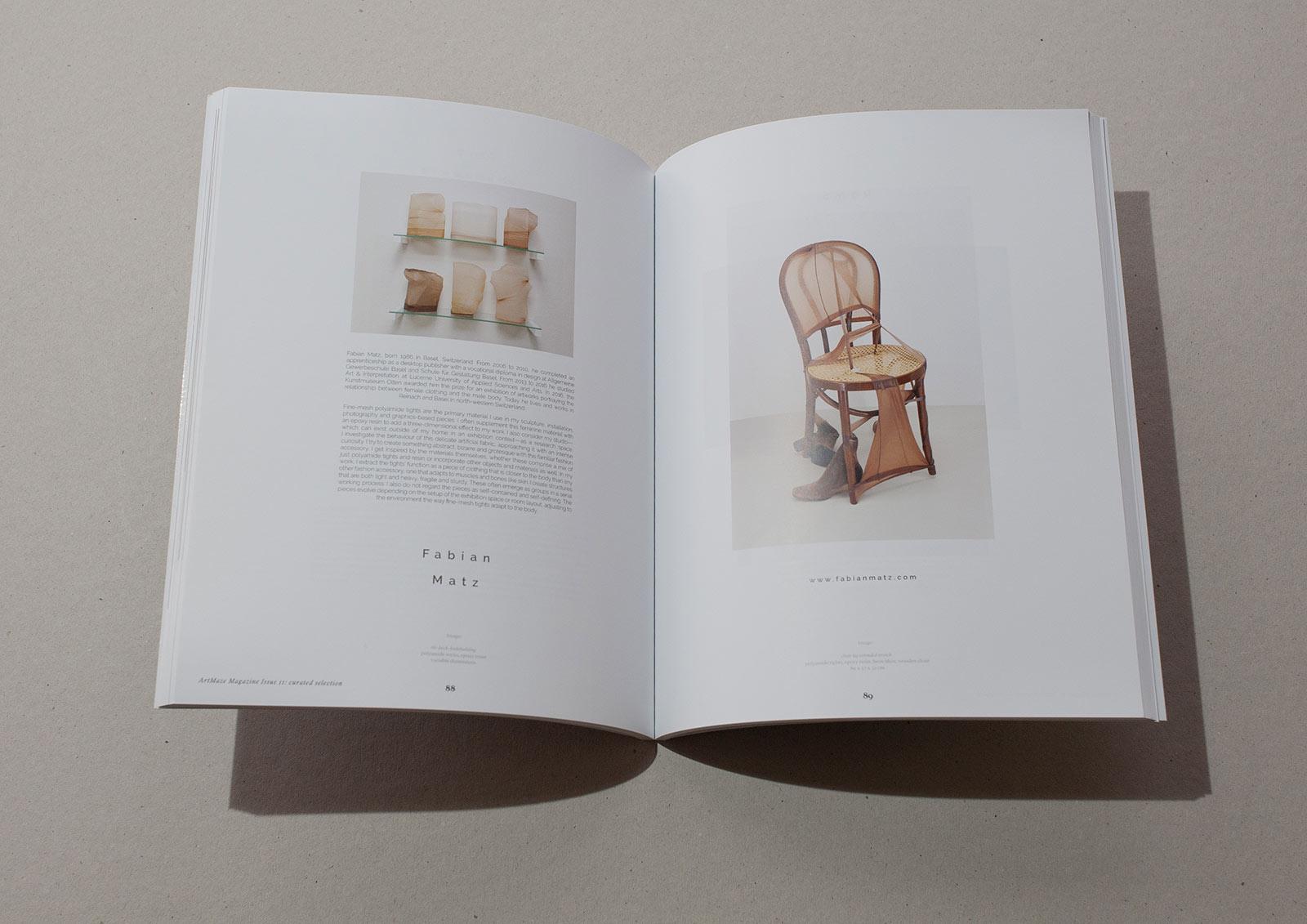 Porträt Fabian Matz auf einer Doppelseite im Kunstmagazin Art Maze Magazine