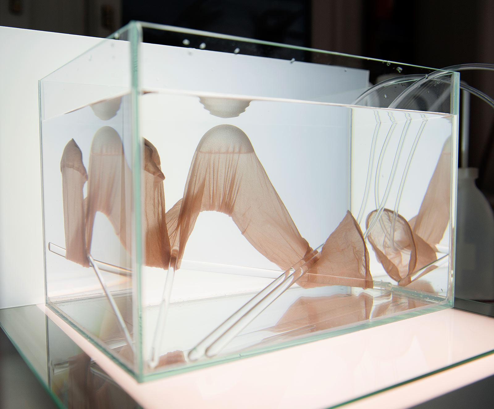 In einem mit destillatgleichem Wasser gefüllten Glasaquarium wurde ein Strumpf mit Luft gefüllt, der an die Wasseroberfläche steigt